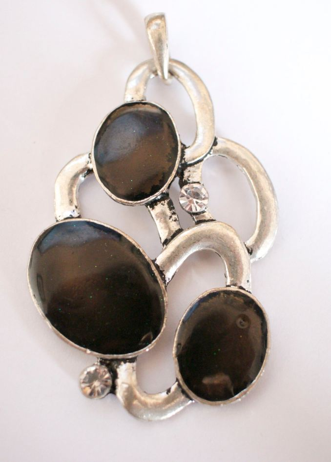 Etsy black silver pendant abstract
