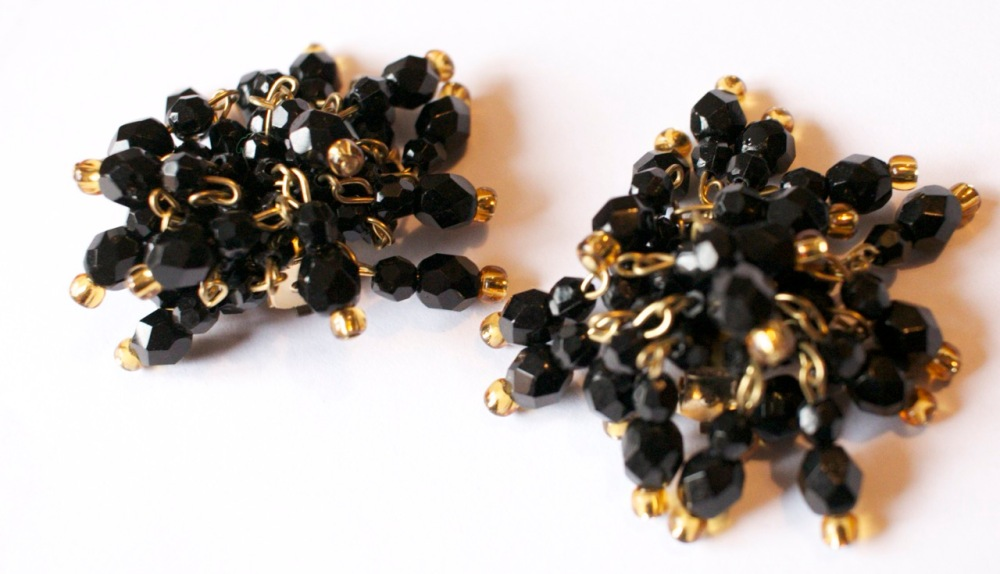 Etsy gold and black clip earrings 2