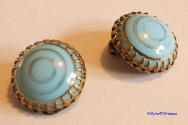 Etsy GV131 turquoise clip earrings 5CR-1