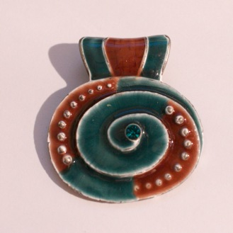 Etsy oval blue brown pendant