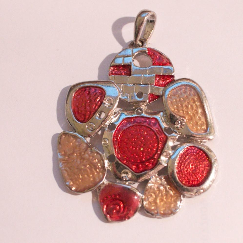 Etsy pink silver enamel pendant