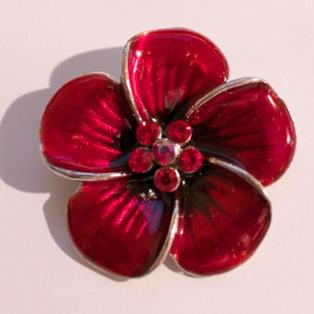 Etsy red flower pendant