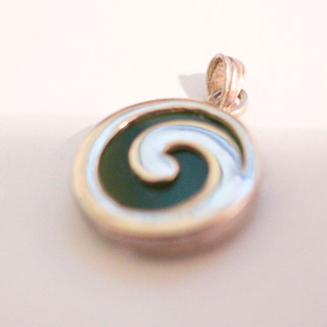 Etsy silver & jade spiral pendant 2